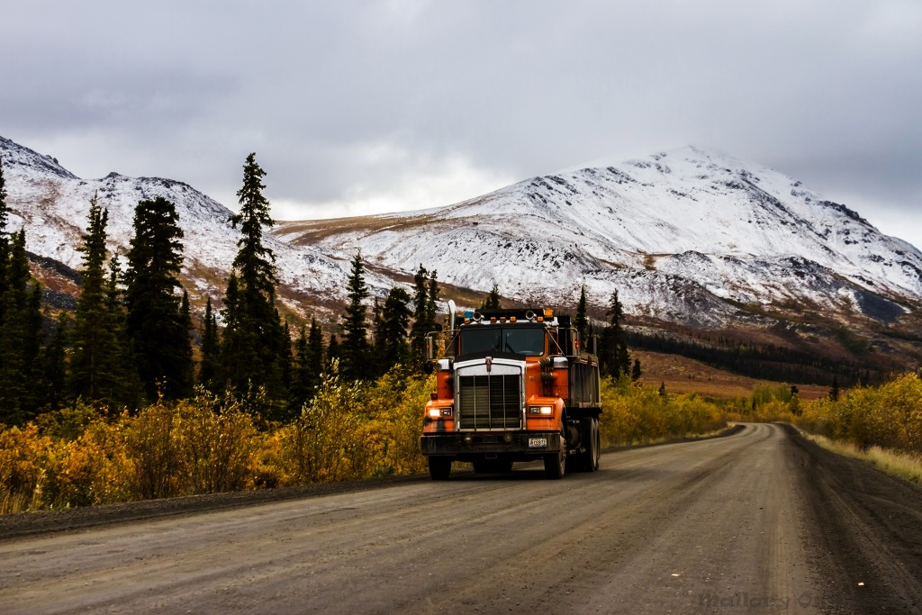 Haulage truck and fall foliage in Tombstone Territorial Park, The Yukon, Canada on Mallory on Travel adventure travel, photography, travel Iain Mallory-Yukon_2029