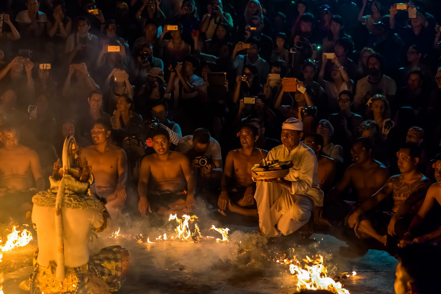 The finale of the Kecak Fire Dance Performance in Uluwatu Temple on the Indian Ocean, Bali in Indonesia on Mallory on Travel adventure travel, photography, travel iain-mallory_indo-1-149