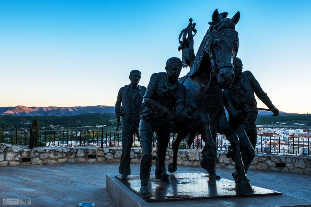"Statue of the ""Los Cabanos del Vino"" or Horses of Wine in the fifth holy Catholic city of Caravaca de la Cruz in region of Murcia, on Mallory on Travel adventure travel, photography, travel Iain Mallory_Murcia 001-152"