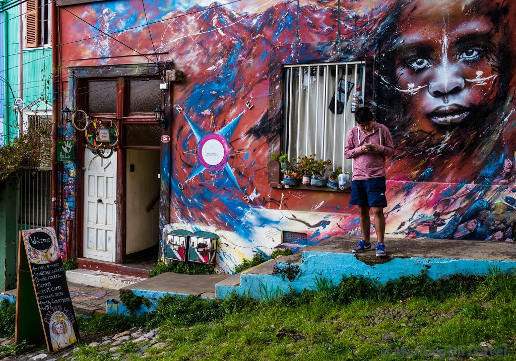 Street art in the colourful seaside town of Valparaiso, Chile in South America on Mallory on Travel adventure travel, photography, travel Iain Mallory_Chile6222