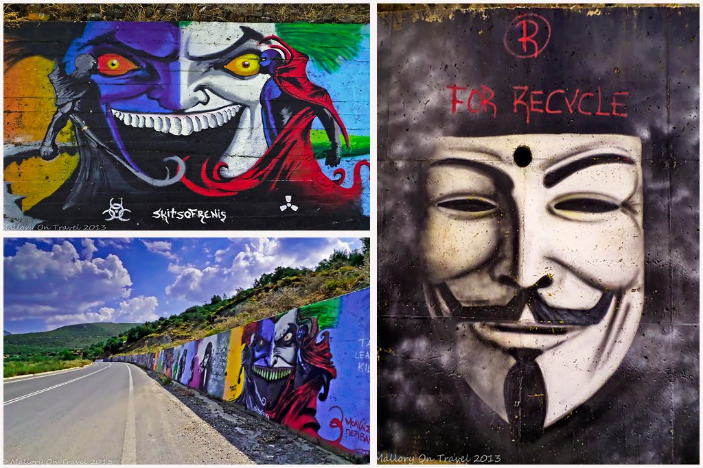 Greek street art on the road from Kalamata to Sparta in the Peloponnese on Mallory on Travel adventure travel, photography, travel Iain Mallory-Montage