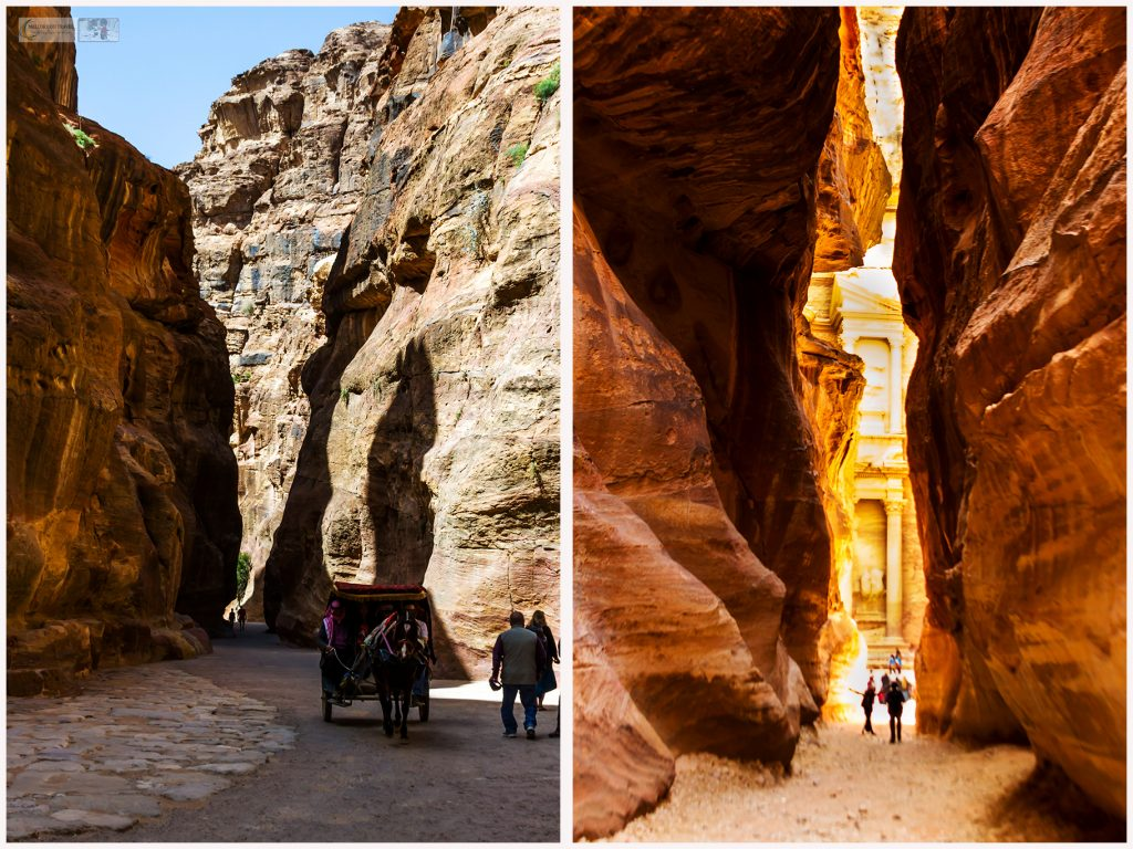 Navigating the Siq at Petra, the red-rose city of Jordan on Mallory on Travel adventure travel, photography, travel Iain Mallory Jordan Montage