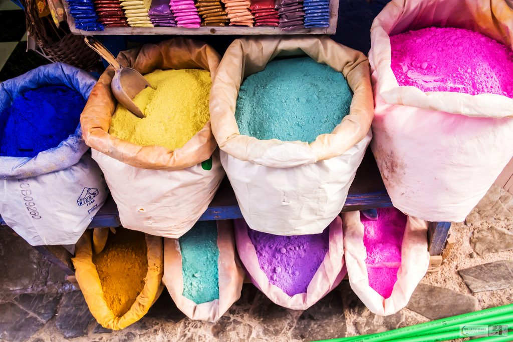 Colourful spices in the Blue City, Chefchaouen in the Rif Mountains, Morocco on Mallory on Travel adventure travel, photography, travel Iain Mallory_Morocco 088