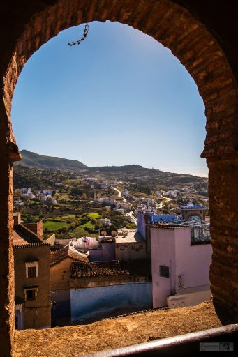 View from the Chefchaouen fort looking over the blue city and the Rif Mountains of northern Morocco in North Africa on Mallory on Travel adventure travel, photography, travel Iain Mallory_Morocco 092