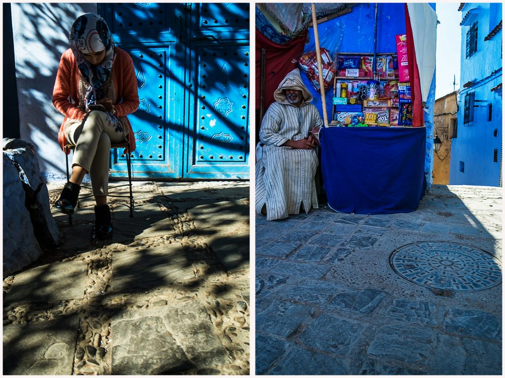 Merchants on the streets of Chefchaouen in the Moroccan Blue City on Mallory on Travel adventure travel, photography, travel Iain Mallory_Morocco 092a