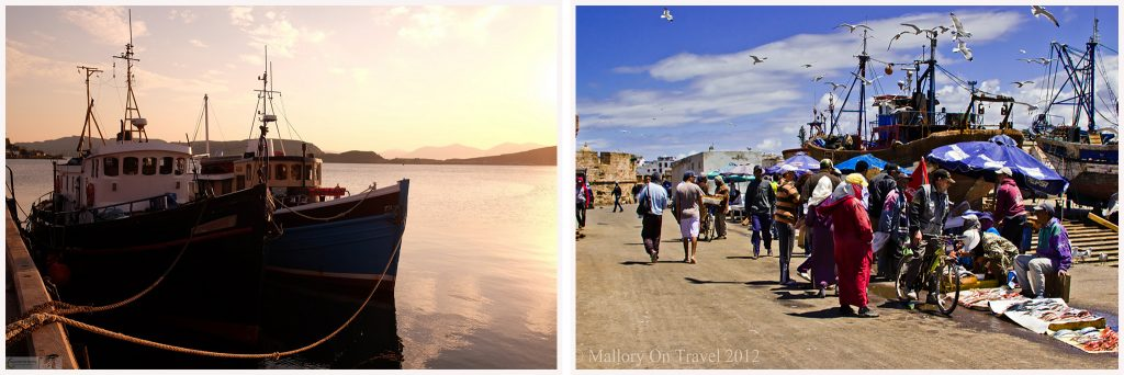 Visual storytelling; The fishing fleet in Oban and quayside fish market of Essaouira in Morocco, north Africa on Mallory on Travel adventure travel, photography, travel Iain Mallory ScotlandMontage-1