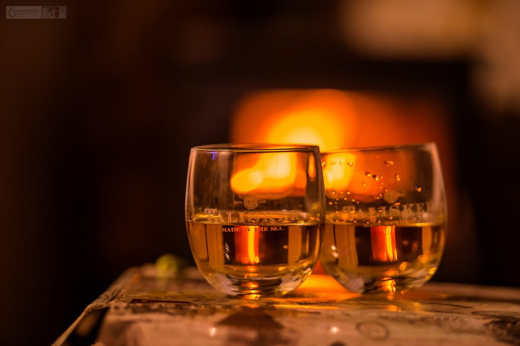 Glasses of whisky from the Talisker distillery at a Böd on Shetland in the highlands and islands of Scotland on Mallory on Travel adventure travel, photography, travel Iain Mallory_Scotland 001-16