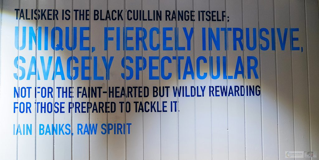 "Description of Talisker single malt whisky by Iain Banks of ""Raw Spirit"" at the Talisker distillery, Carbost on the Isle of Skye in the highlands and islands of Scotland on Mallory on Travel adventure travel, photography, travel Iain Mallory_Scotland 001-2"