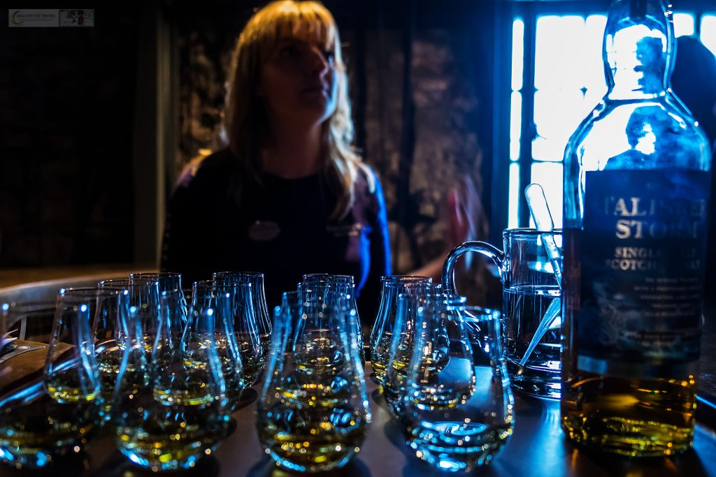 Free samples of single malt whisky at the Talisker distillery in Carbost, under the Black Cuillin on the Isle of Skye, in the highlands and islands of the west coast of Scotland on Mallory on Travel adventure travel, photography, travel Iain Mallory_Scotland 001-8