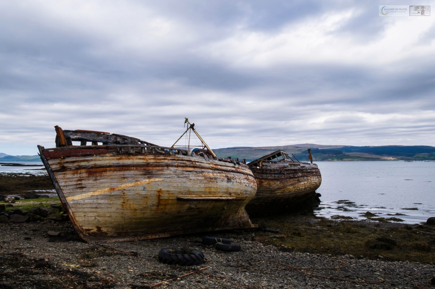 Visual storytelling; Old deserted fishing boats in the Sound of Mull near Salen, Isle of Mull on the west coast of Scotland on Mallory on Travel adventure travel, photography, travel Iain Mallory_Scotland 002