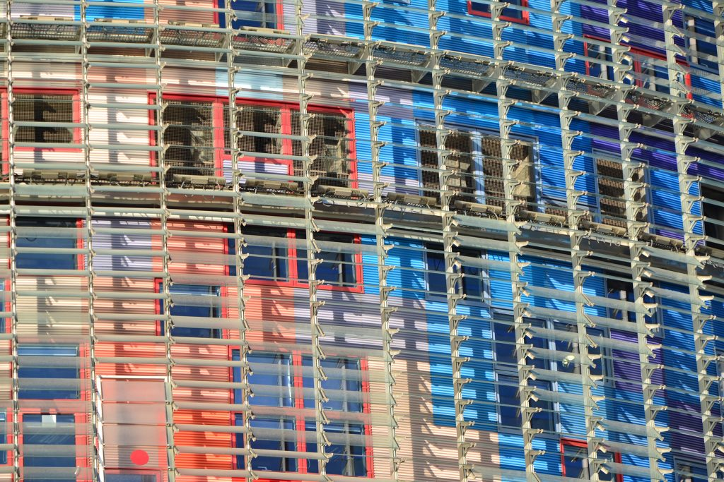 The two skins of skyscraper Torre Agbars in the Catalan capital city, Barcelona in Spain Guest post by Duncan Rhodes for the travel thruster series on Mallory on Travel adventure travel, photography, travel