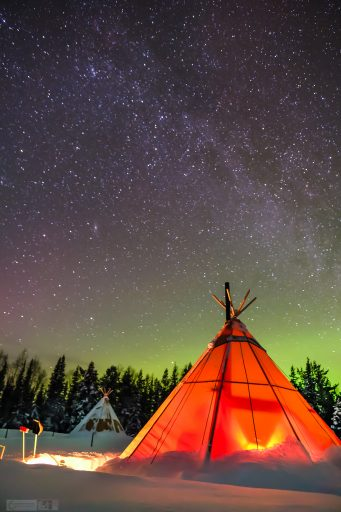 The Milky Way and Northern Lights at Sapminature camp at Nietsak, near Gallivare in Swedish Lapland, inside the Arctic Circle, Arctic Sweden on Mallory on Travel adventure travel, photography, travel Iain Mallory_Lapland-1-11
