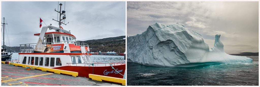 Iceberg Quest berg chasing and ocean tours in Iceberg Alley, near Petty Harbour on the Avalon Peninsula in Newfoundland and Labrador, Canada on Mallory on Travel adventure travel, photography, travel iceberg montage