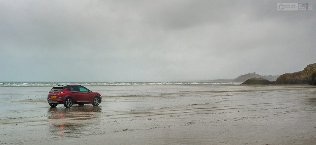 Driving the Hyundai Kona Premium SE on the beach at Black Rock Sands, Porthmadoc in Snowdonia National Park, North Wales on Mallory on Travel adventure travel, photography, travel Iain Mallory_Hyundai 005