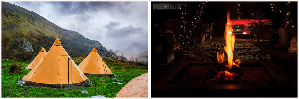 The camping village and tipis for the Hyundai Kona 10 Challenge at Llyn Gwynant campsite in Snowdonia National Park, North Wales on Mallory on Travel adventure travel, photography, travel Iain Mallory_Hyundai montage1
