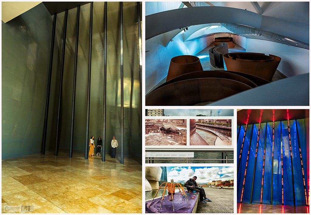Exhibitions inside and outside the Guggenheim Museum in Bilbao, the Basque Country, Spain on Mallory on Travel adventure travel, photography, travel Iain Mallory_Spain montage4