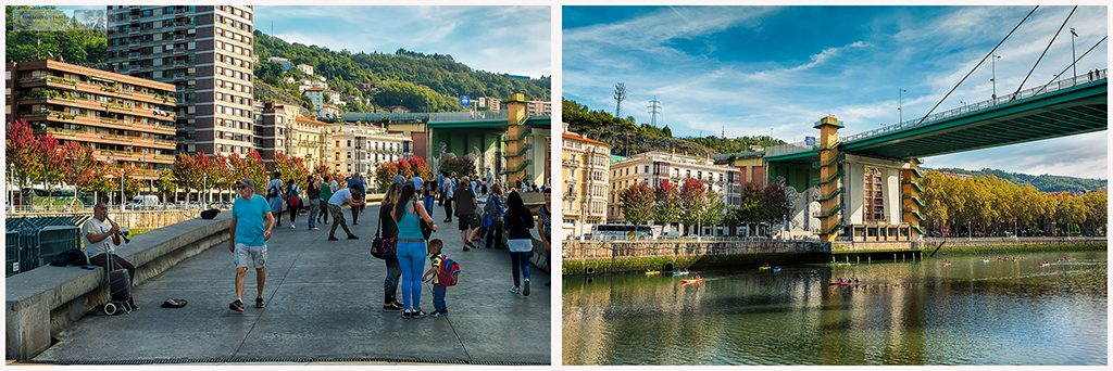 Recreational and social hub on the Nervion River outside the Guggenheim Museum in Bilbao the unofficial capital of the autonomous region of the Basque Country, Spain on Mallory on Travel adventure travel, photography, travel Iain Mallory_Spain montage5