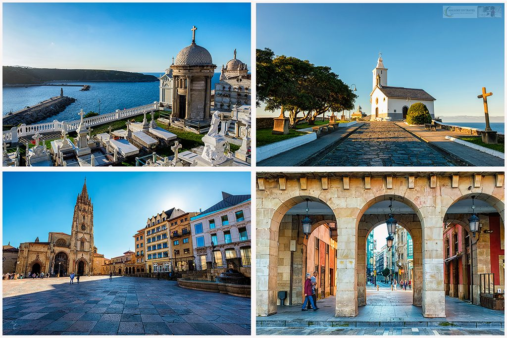 Around Asturias, the cemetery, church and lighthouse at Luarca, arched walkway in Gijon and the square in Oviedo in the region known as Green Spain, formed by the northern provinces of the Basque Country, Cantabria, Asturias and Galicia on Mallory on Travel adventure travel, photography, travel Iain Mallory_Spain montage8