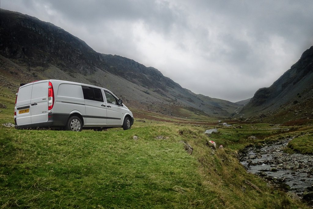 A Mercedes Vito campervan in Honister Pass, in the English Lake District on Mallory on Travel adventure travel, photography, travel