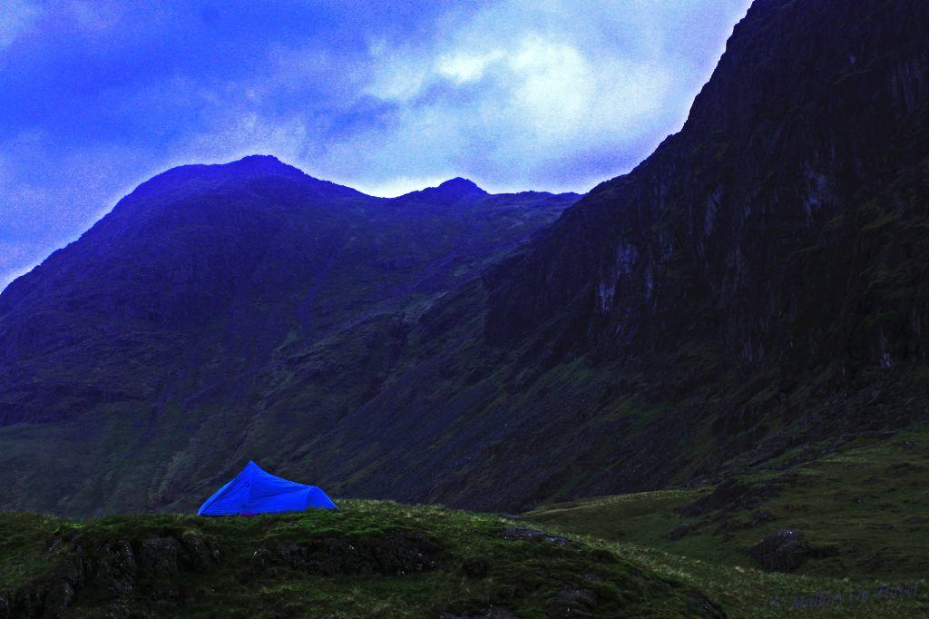 Adventure travel; camping under Pavey Ark in the Langdales, English Lakes on Mallory On Travel 15-05-09-001-1
