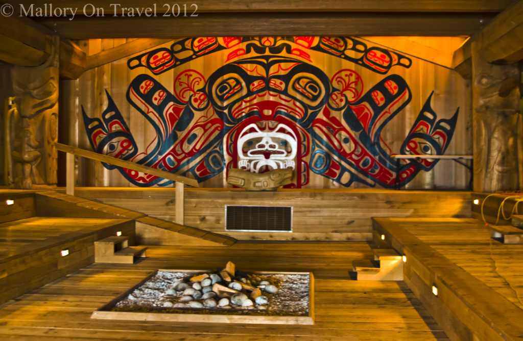 Tourist versus traveller; Gitga'at Canadian First Nation tribal hall in Hartley Bay in the Great Bear Rainforest of British Columbia on Mallory on Travel adventure photography