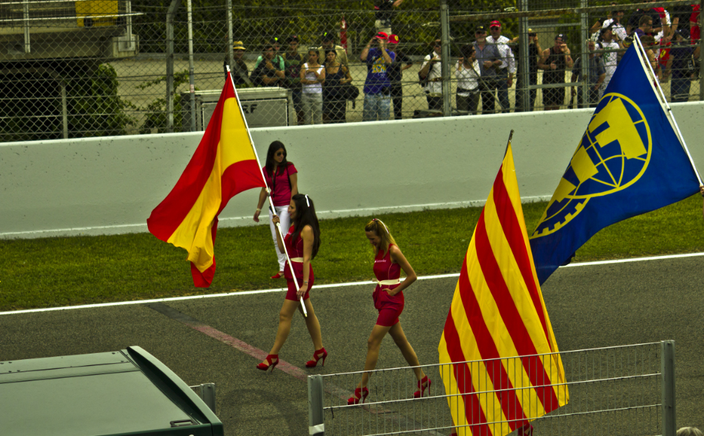 Formula One flag bearers at the Spanish Grand Prix in Barcelona, Catalonia in Spain on Mallory on Travel, adventure, photography