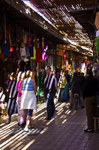 Streaming sunlight in the souks of Marrakech, Morocco Copyright © by Mallory On Travel 2011 adventure photography