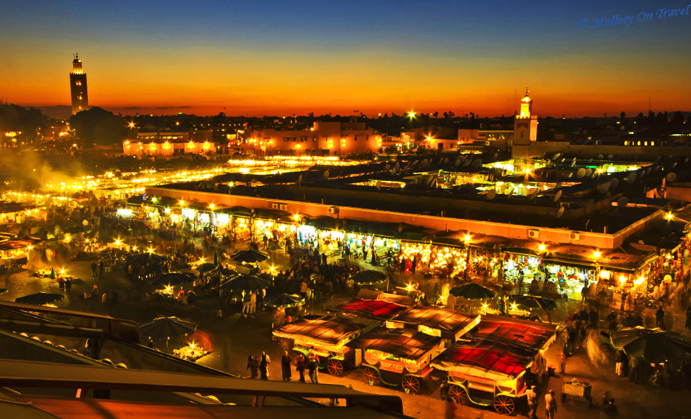 The centre of the Marrakech medina Djemaa el Fna in Morocco on Mallory On Travel adventure, photography