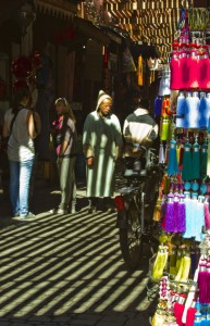 Browsing the souks surrounding Djemaa el Fna in Marrakech, Morocco Copyright © by Mallory On Travel 2011 adventure photography