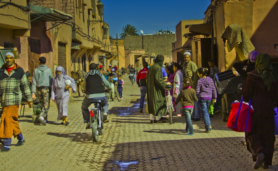 Tourist versus traveller; A street in the medina of Marrakech in Morocco, North Africa on Mallory On Travel 2011 adventure photography
