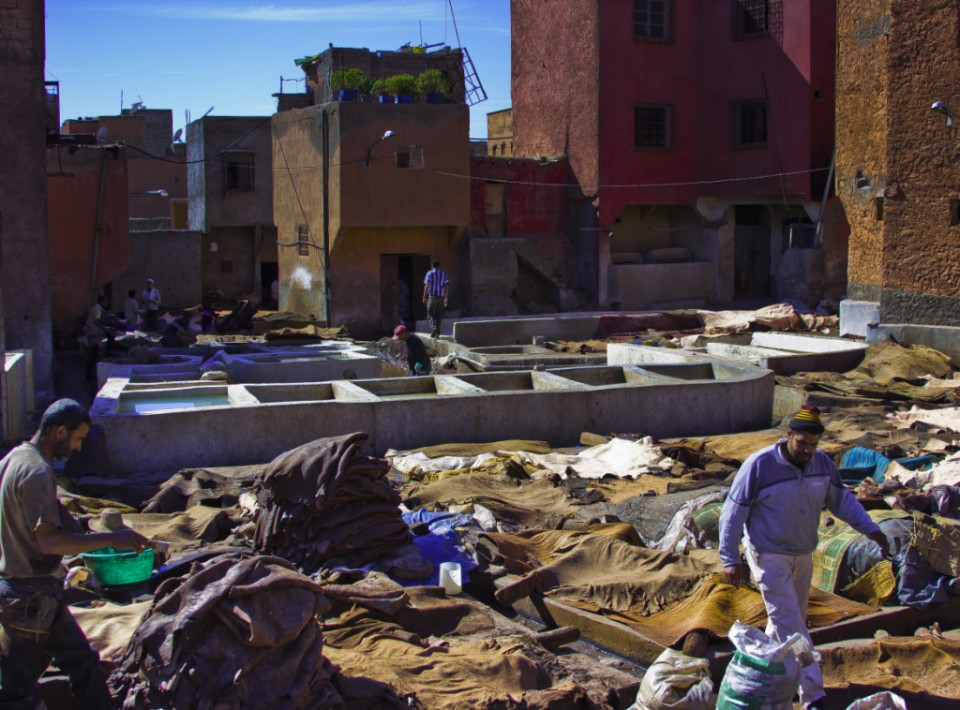 Tourist versus traveller; Exploring the tannery in the medina of Marrakech in the North African country of Morocco on Mallory On Travel 2011 adventure photography