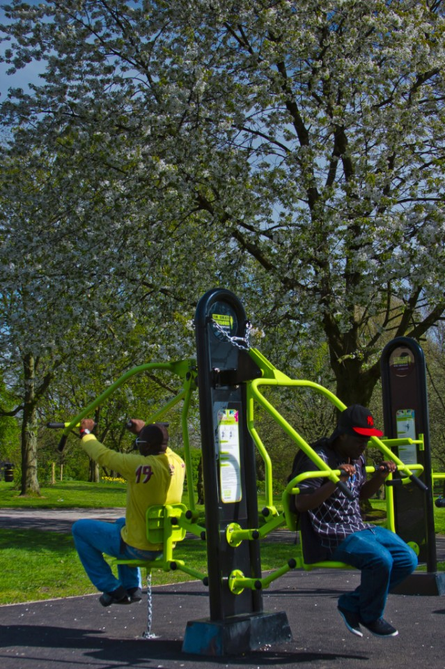 Fitness in the park at Salford, Lanashire on Mallory On Travel adventure, photography