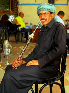Egyptian local enjoying a shisha in Sharm el Sheik on Mallory on Travel, adventure, photography