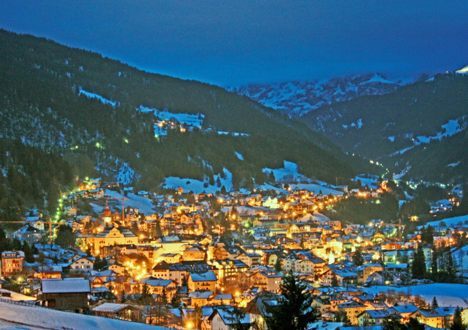 Ortisei at night in italy, a skiing village in the Dolomites on Mallory on Travel, adventure, photography