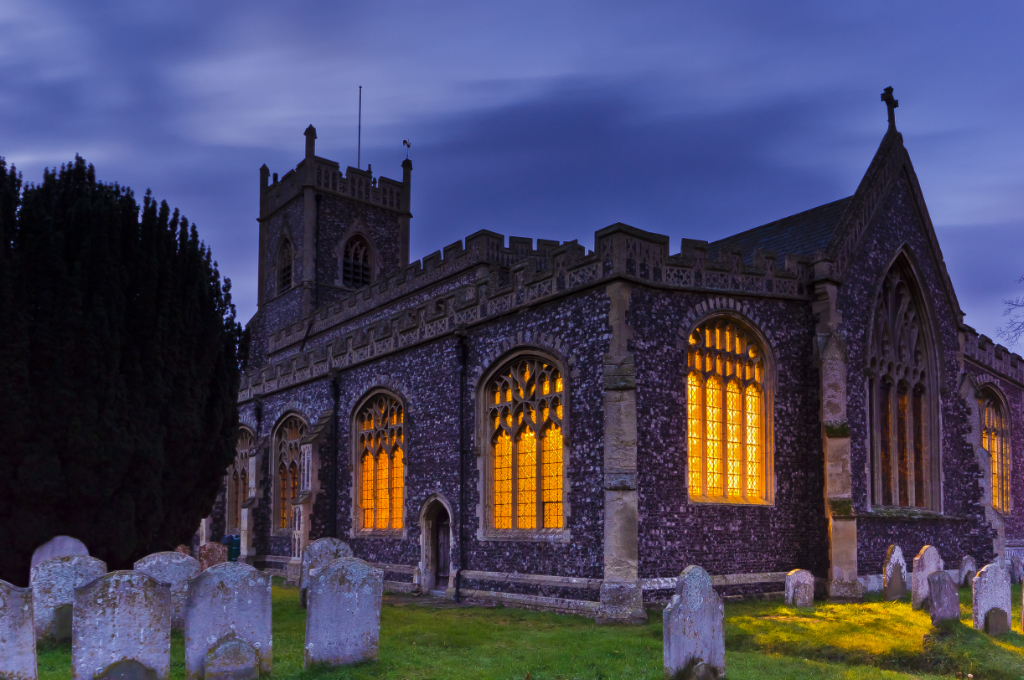 A Suffolk church at dusk, Great Britain on Mallory on Travel adventure, photography