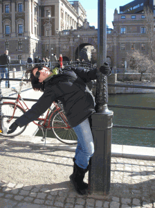 Lampost dancing in Stockholm on Mallory on Travel, adventure, photography Copyright © by Camping in Heels 2011.