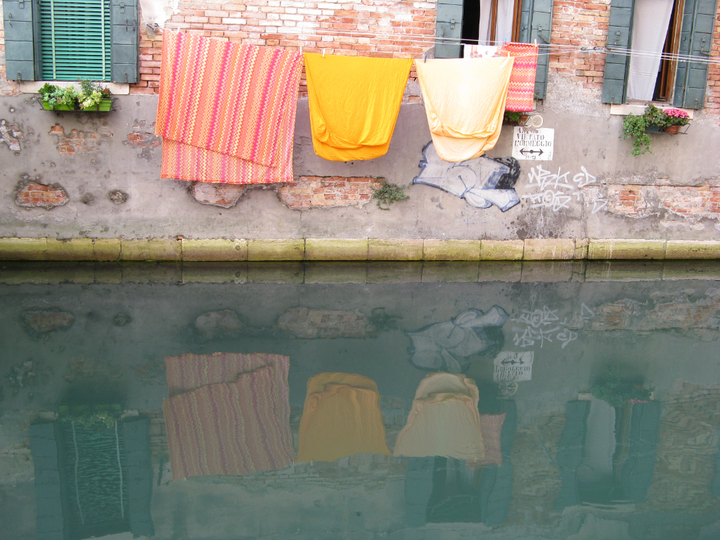 Reflections on washing in Venice, Italy on Mallory on Travel, adventure, photography