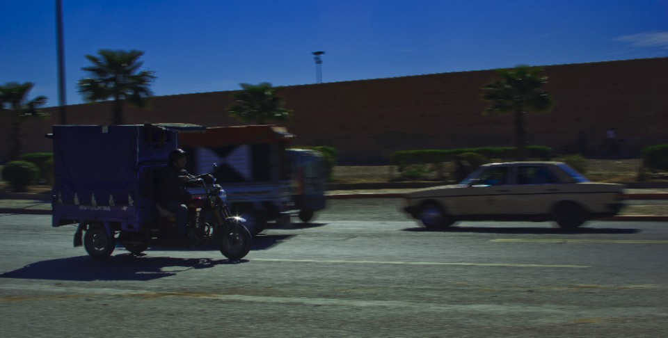Journeying; Travel by any transport means,tuk-tuk in Marrakech, Morocco on Mallory on Travel, adventure, photography