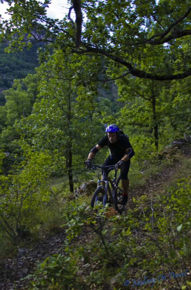 Mountain biking in the French Tarn Gorge near Millau in the Aveyron on Mallory on Travel, adventure, adventure travel, photography