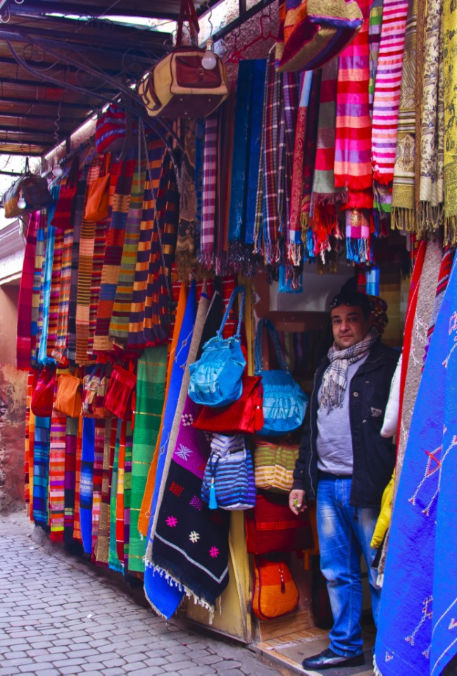 Colourful scarves and fabrics galore in the medina in Marrakech, Morocco on Mallory on Travel, adventure, photography