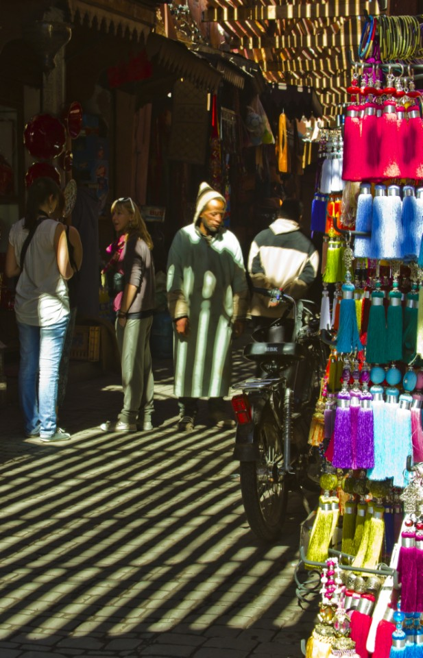 Browsing the souks of the  in the medina in Marrakech, Morocco on Mallory on Travel, adventure, photography