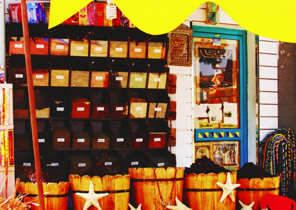 Spice store in the Old Market of Sharm el Sheik in Egypt on Mallory on Travel, adventure, photography