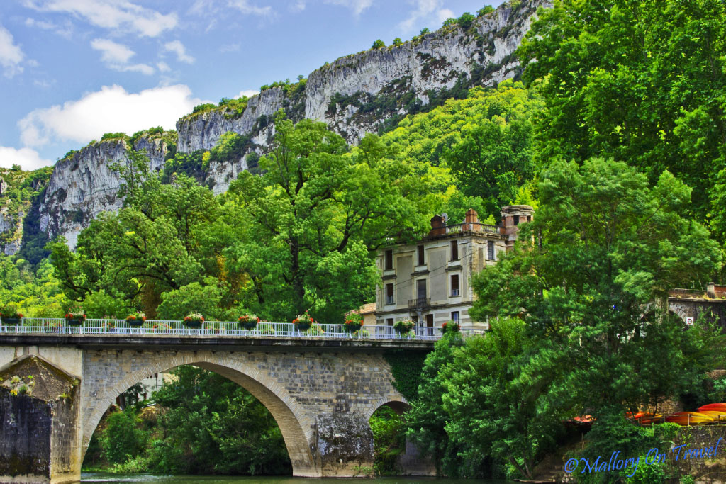 The bridge at St Antonin Noble Val in the French Midi-Pyrenees of the Aveyron on Mallory on Travel adventure, photography