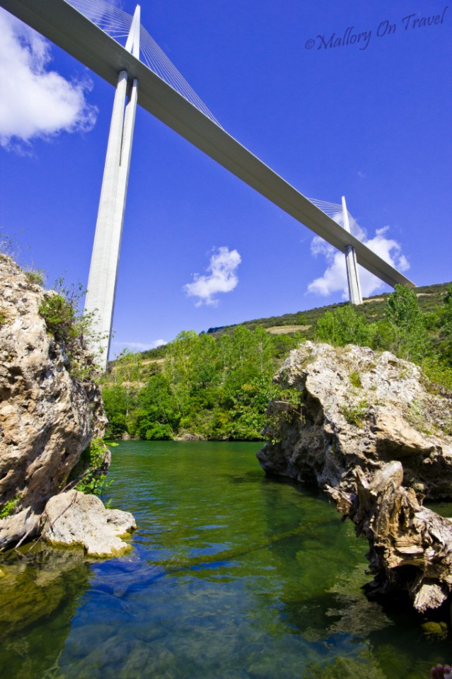 The Millau Viaduct view from the Tarn River France on Mallory on Travel, adventure, photography