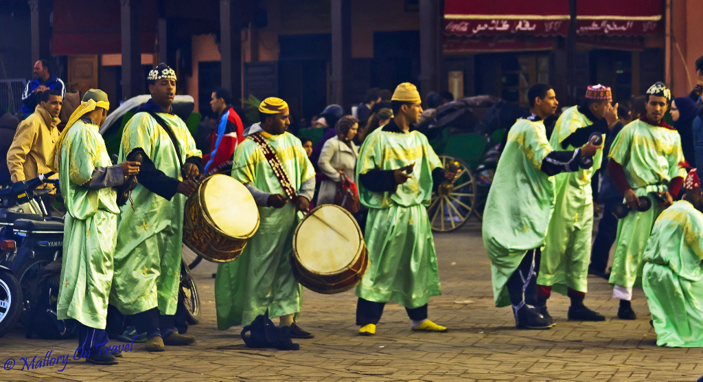 Music and lightweight travel in Marrakech medina Djemaa el Fna, Morocco on Mallory on Travel, adventure, adventure travel, photography