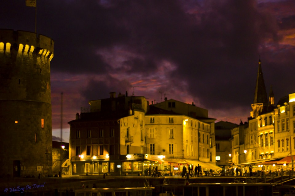 The harbour of La Rochelle at night in the Poitou-Charentes region of France on Mallory on Travel, adventure, adventure travel, photography