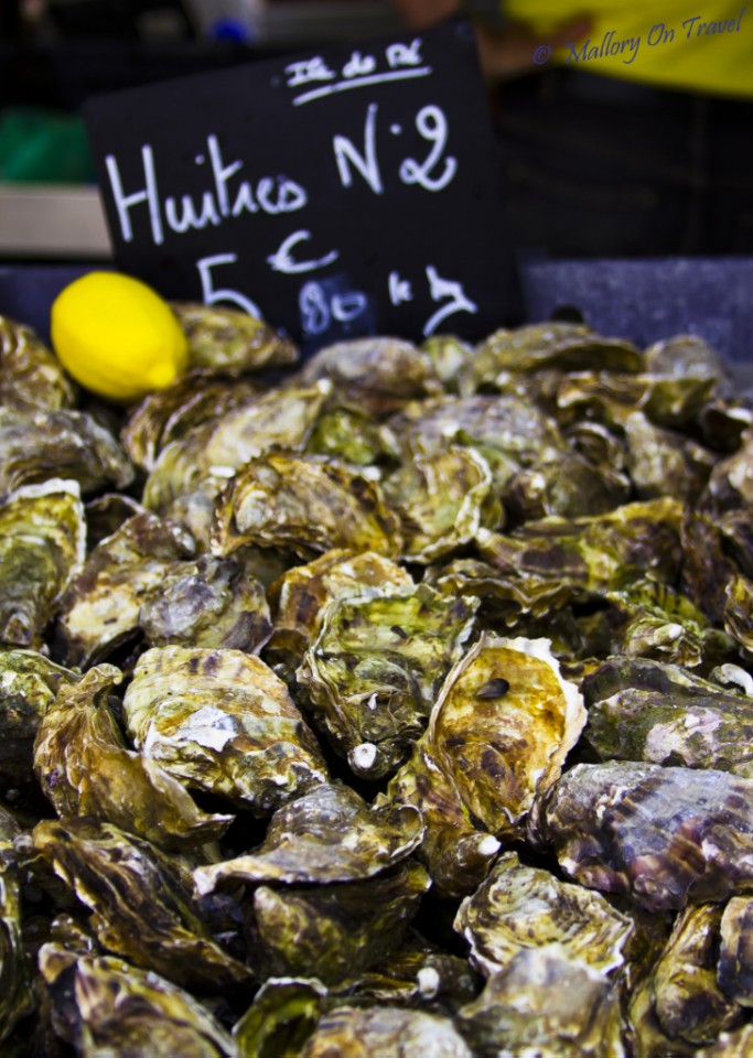 Fresh oysters at the La Rochelle market in Poitou-Charentes in France on Mallory on Travel, adventure, adventure travel, photography