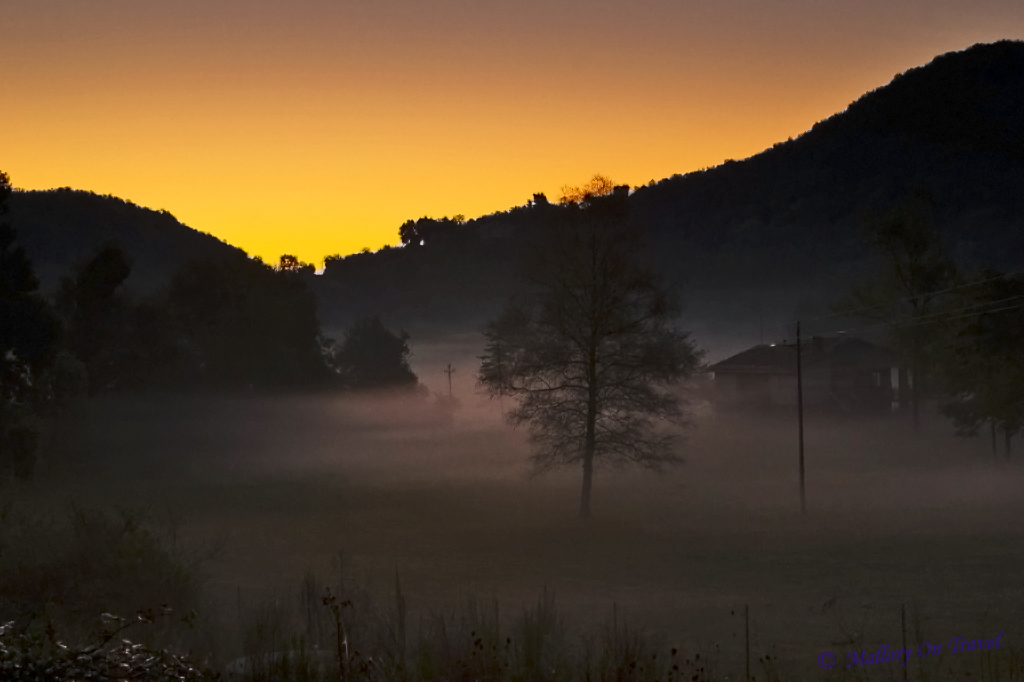 Sunrise in La Garrotxa in the Spanish Catalan on Mallory on Travel adventure, photography