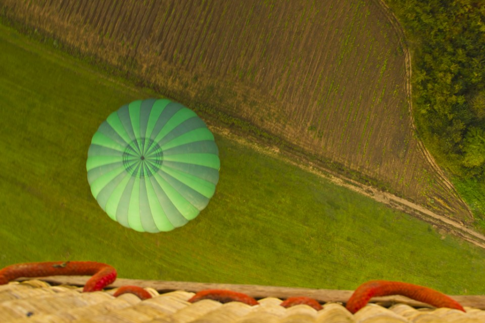 The other balloon way down below in a Catalan field, Spain on Mallory on Travel, adventure, adventure travel, photography Iain_Mallory_03702