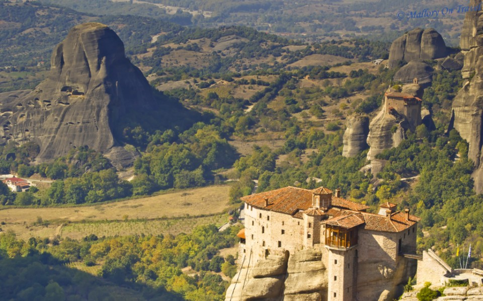 Panoramic Meteora and its monasteries in the Thessaly Plain, Greece on Mallory on Travel, adventure, adventure travel, photography